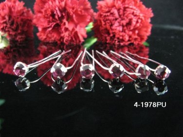 6 PCS BRIDAL HAIRPIN;SILVER purple CRYSTAL WEDDING HAIR PIN #1978pu