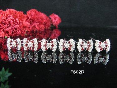 6 PCS CUTE BOW BRIDAL HAIRPIN;SILVER RED CRYSTAL WEDDING HAIR PIN #602rr