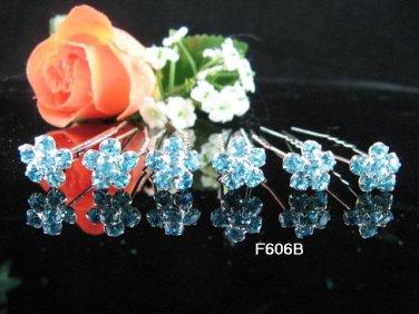 6 PCS CUTE BOW BRIDAL HAIRPIN;SILVER BLUE CRYSTAL WEDDING HAIR PIN #606b