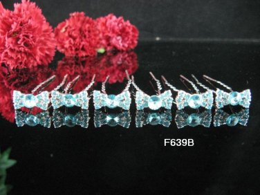 6 PCS CUTE BOW BRIDAL HAIRPIN;SILVER BLUE CRYSTAL WEDDING HAIR PIN #639b
