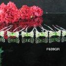 6 PCS CUTE BOW BRIDAL HAIRPIN;SILVER GREEN CRYSTAL WEDDING HAIR PIN #639GR