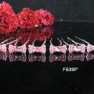 6 PCS CUTE BOW BRIDAL HAIRPIN;SILVER PINK CRYSTAL WEDDING HAIR PIN #639P