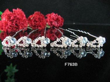 6 PCS BRIDAL HAIRPIN;SILVER CRYSTAL WEDDING HAIR PIN #763b