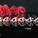 6 PCS BRIDAL HAIRPIN;SILVER CRYSTAL RED WEDDING HAIR PIN #763r