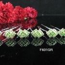 6 PCS BRIDAL HAIRPIN;SILVER CRYSTAL GREEN WEDDING HAIR PIN #831GR