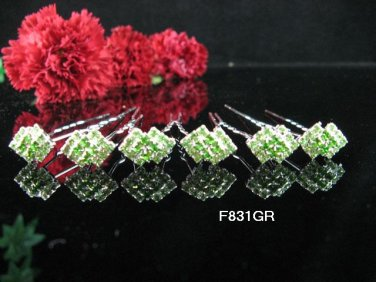 6 PCS BRIDAL HAIRPIN;SILVER CRYSTAL GREEN WEDDING HAIR PIN #831GR