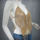 Sexy Beaded Halter Top ; golden butterfly woman hippie top; fashionable beaded dancing belly top#28