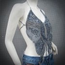 Sexy Beaded Halter Top ; Grey butterfly woman hippie top; fashionable beaded dancing belly top#28