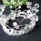 Silver Crystal Small Crown ;Delicate Handmade Pink Tiara Regal #4217