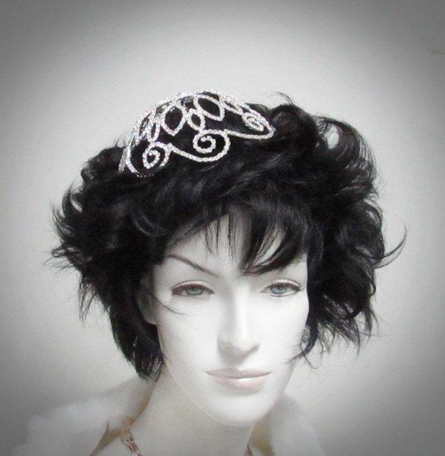 Bridal Bride Silver Crystal Small Crown ;Delicate Handmade Tiara Regal ;wedding hat #3647