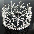 Bridal Bride Silver Crystal Small Crown ;Delicate Handmade Tiara Regal ;wedding hat #4335