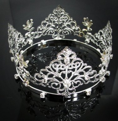 Bridal Bride Silver Crystal Small Crown ;Delicate Handmade Tiara Regal ;wedding hat #8542