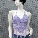 Sexy Halter Top ; woman hippie top; fashionable crochet beaded dancing belly bar top#32