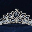 Silver Sweet 15 Swarovski Crystal Happy Birthday Tiara;Fashion Crown #1038