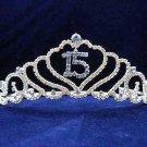 Silver Sweet 15 Rhinestone Crystal Happy Birthday Tiara;Fashion Crown #1044b
