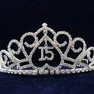 Silver Sweet 15 Rhinestone Crystal Happy Birthday Tiara;Fashion Crown #1050