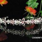 Crystal and Rhinestone Floral Bridal Headband ;Sparkle Beautiful Silver Wedding Bridal Tiara #699