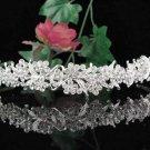 Crystal Rhinestone Floral Alloy Bridal Headband ;Sparkle Beautiful Silver Wedding Bridal Tiara #701