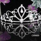 Filigree Crystal Rhinestone Bridal Tiara ;Sparkle Beautiful Silver Wedding Tiara; Bride Regal#850