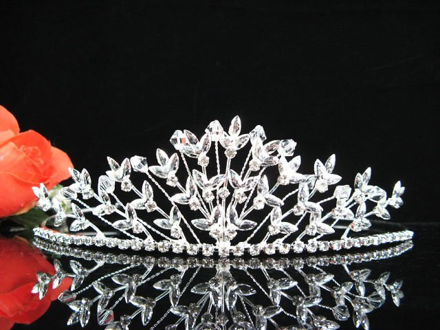 Sparkle Beautiful Silver Wedding Tiara;Elegance Crystal Rhinestone Bridal Tiara ; Bride Regal#1189