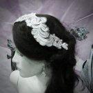 Floral Lace Wedding Headpiece;Ivory Floral Bridal Tiara ; Bride Headpiec#18