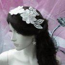 Floral Lace Wedding Headpiece;Ivory Floral Bridal Tiara ; Bride Headpiec#17