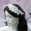 Floral Lace Wedding Headpiece;Ivory Floral Bridal Tiara ; Bride Headpiece#11