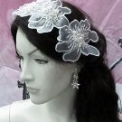 French Lace Wedding Headpiece;Ivory Floral Bridal Tiara ; Bride Headpiece#7