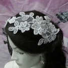 French Lace Wedding Headpiece;Ivory Floral Bridal Tiara ; Bride Headpiece#5