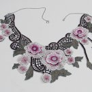 Fashion French Lace Wedding Necklace;Floral Bridal Accessories;Bride Jewelry Embroidery necklace #6
