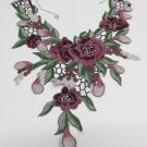 Fashion French Lace Wedding Necklace;Floral Bridal Accessories;Bride Jewelry Embroidery necklace #8