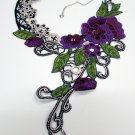 Fashion French Lace Wedding Necklace;Floral Bridal Accessories;Bride Jewelry Embroidery necklace #11