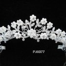 Elegance Peacock Crystal Bridal Tiara ; Silver Rhinestone Wedding Headpiece;Floral bride tiara#377