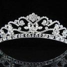 Elegance Peacock Crystal Bridal Tiara ; Silver Rhinestone Wedding Headpiece;Floral bride tiara#384