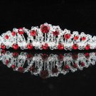 Elegance Sparkle Crystal Bridal Tiara ; Silver Rhinestone Wedding Headpiece;Red bride tiara#432r