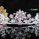 Elegance Sparkle Crystal Bridal Tiara ; Silver Rhinestone Wedding Headpiece;Pink bride tiara#494p