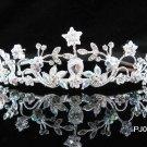 Elegance Sparkle Crystal Bridal Tiara ; Silver Rhinestone Wedding Headpiece;Pink bride tiara#510
