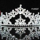 Elegance Sparkle Crystal Bridal Tiara ; Silver Rhinestone Wedding Headpiece;Pink bride tiara#537