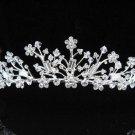 Elegance Sparkle Crystal Bridal Tiara ; Silver Rhinestone Wedding Headpiece;Pink bride tiara#563