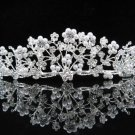 Floral Pearl Crystal Bridal Tiara;Silver Rhinestone Pearl Wedding Headpiece;bride tiaras#570