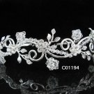 Bridal Tiara;Silver alloy Rhinestone Floral Serpent Wedding Headband;bride Hair accessories#1194