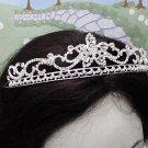 Elegance Bridal Tiara;Silver Rhinestone Floral Wedding Headband;bride Hair accessories#3050