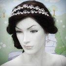 Elegance Floral Bridal Tiara;Silver Rhinestone Wedding Headpiece;bride Hair accessories #1339