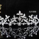 Floral Bridal Tiara;Silver Rhinestone Wedding Headband ;bride Hair accessories#1333
