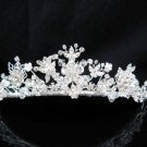 Floral Pearl Bridal Tiara;Silver Rhinestone Wedding Headband ;bride Hair accessories#1328