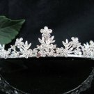 Floral Bridal Tiara;Silver Alloy Rhinestone Wedding Headband ;bride Hair accessories#1340