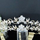 Floral Rhinestone Wedding Tiara;Bride Hair accessories;Fancy Crystal Golden Bridal Tiara#427g
