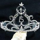 Huge 15 or 16 Birthday Tiara;Silver Sweetheart Crystal Occasion Tiara;Fashion Hair accessories#8901