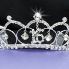 Fancy Silver Crystal Occasion Tiara;Delicate 15 or 16 Birthday Tiara;Fashion Hair accessories#70715