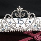 Silver Crystal Occasion Tiara;Delicate 15 or 16 Birthday Tiara;Fancy Fashion Hair accessories#1061